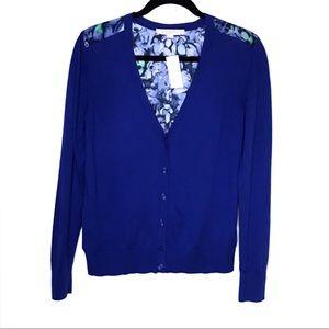 Loft Mixed Media Cardigan-NWT-Royal Blue-Size M